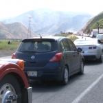 Largas filas en la carretera Transpeninsular por modernización en El Zacatón