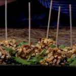 Bolitas de carne de pavo con salsa de sésamo y soja