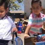 Niño se disfraza de gerente de Coppel y se gana una bici