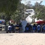 Estudiantes de secundaria en Camino Verde toman clases bajo un pirul